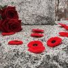 Canadian Remembrance Day Cenotaph with poppies