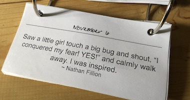 November 6 inspiration: a little girl touches a big bug and shouts YES!
