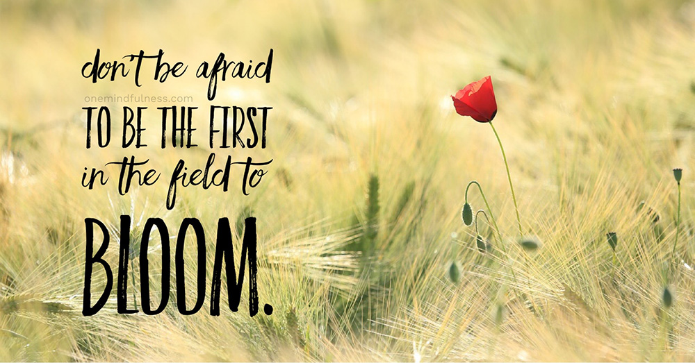 Don't be afraid to be the first in the field to bloom.